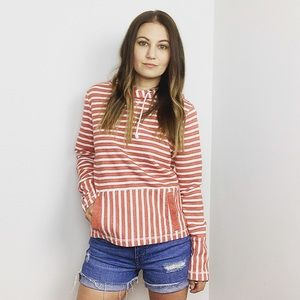 J. Crew Red Flip-Stripe Hooded Sweatshirt
